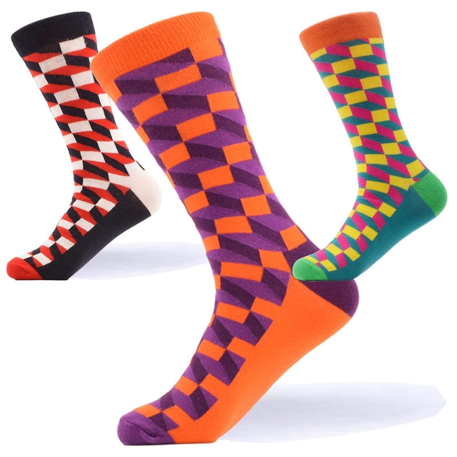 Men's bright geo block gift 3 pairs of socks