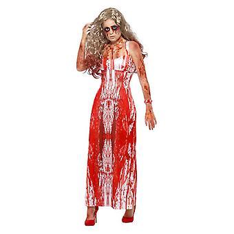 Womens Bloody Prom Queen Halloween Fancy Kleid Kostüm