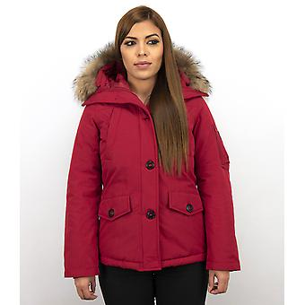 Winter coats - Winter coat Canada Short - Fur Collar - Red