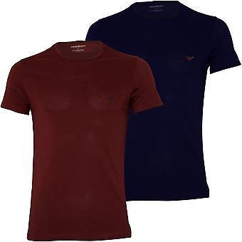 Emporio Armani 2-Pack Eagle Logo Crew-Neck T-Shirts, Navy/Burgundy