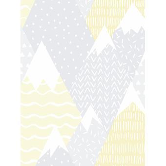 Over de regenboog bergen behang geel Holden 91050