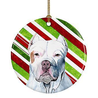 Pit Bull Candy Cane vacaciones Navidad adorno cerámica SC9341