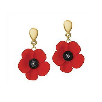 Ewige Sammlung Mohn Rot und schwarz Emaille-Gold-Ton-Drop-Clip auf Ohrringe