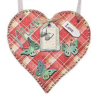 Tartan Mum Hanging Heart Wall Plaque by Lilypond Crafts & Gifts