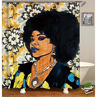 印象的な黒い女性のシャワーカーテン