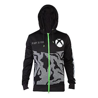 Microsoft Xbox Tech All-over Print Full Length Zipper Hoodie Male Small Black