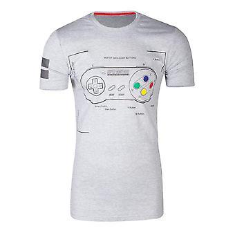 Nintendo SNES kontroller Super Power T-skjorte mannlig liten grå (TS241058NTN-S)