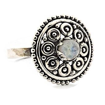 Ring 925 Silber mit Regenbogen Mondstein 60 mm / Ø 19.1 mm (KLE-RI-232-04-(60))