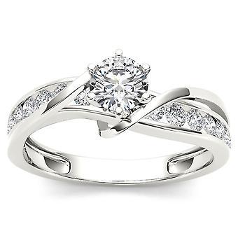IGI certifié bague de fiançailles diamant de 14K or blanc 3/4ct TDW (I-J, I2)