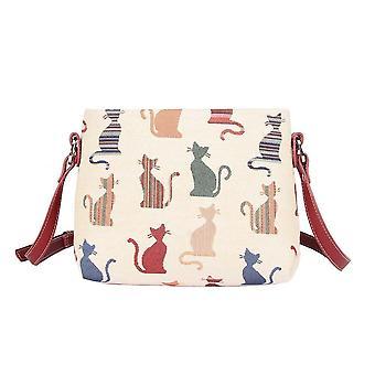 صفيق القط الكتف حقيبة كروسبودي بواسطة نسيج signare / xb02-cheky