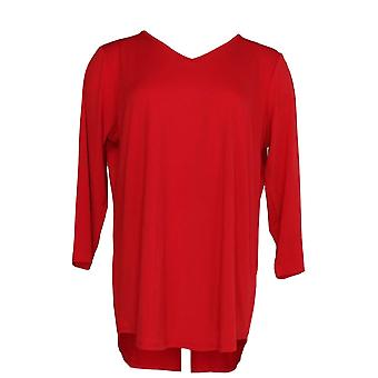 Joan Rivers Classics collectie vrouwen ' s top Knit 3/4 mouw rood A299349