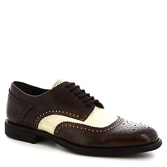 Leonardo Shoes Men's handmade lace-ups shoes in dark brown white calf leather