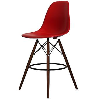 Charles Eames Stil rot Kunststoff Bar Hocker - Walnuss Beine