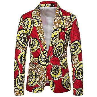 Allthemen Men's Casual One-button National Retro Printed Pattern Colorblocked Blazer
