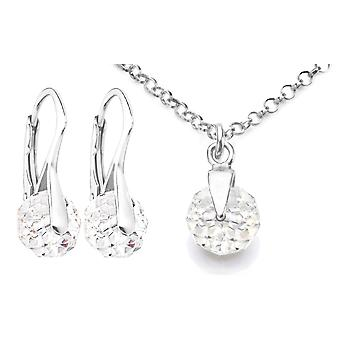 Ah! Jewellery 8mm Clear Crystals From Swarovski Set, Sterling Silver, Stamped 925