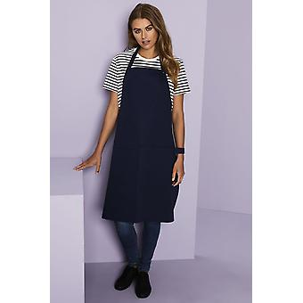 SIMON JERSEY Essentials Popper Strap Apron With Pocket, Navy