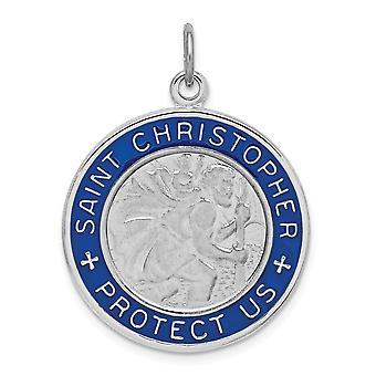 925 Sterling Argento Incisa Rodio placcato Smalto St. Christopher Medaglia Pendente Collana Gioielli Regali per le donne