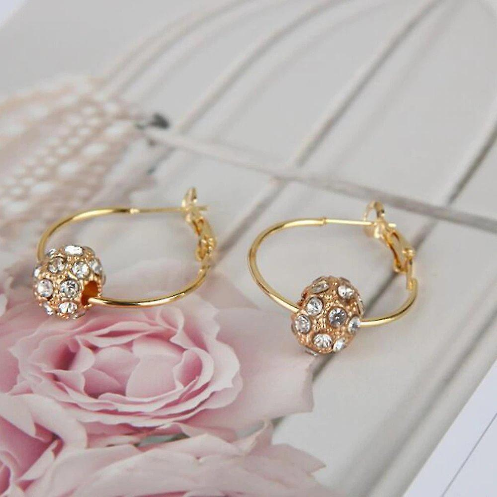 Gold Hoop Earrings with Crystal Ball Charms