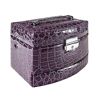 Crocodile patterned Jewelry box with 5 compartments - Purple