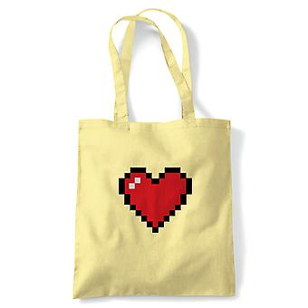 Pixel Heart, Tote - Retro Gaming Valentines Reusable Canvas Bag Gift