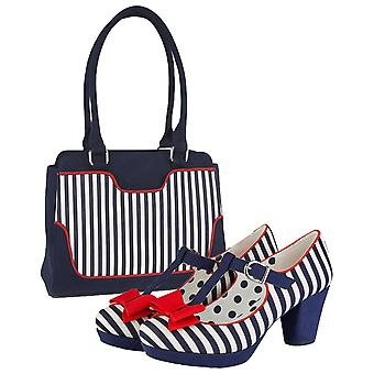 Ruby Shoo Women's Jazz Mid Heel T-Bar Shoes & Matching Tunis Bag