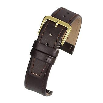 Calf leather watch strap brown stitched size 8mm to 20mm