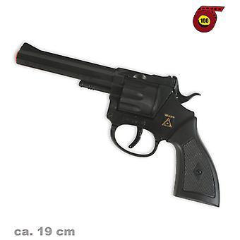 Arme-jouet revolver Rocky noir ronde 100 munitions Strip