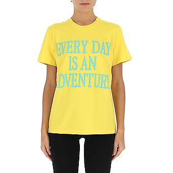 Alberta Ferretti 07011672j1027 Mujer's camiseta de algodón amarillo