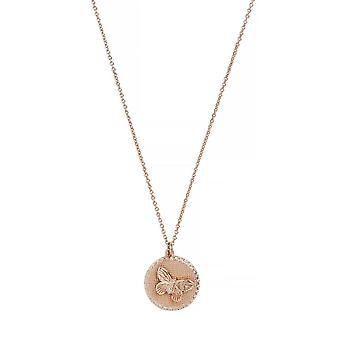 Olivia Burton Watches Obj16mbn02 Butterfly Coin Necklace Rose Gold