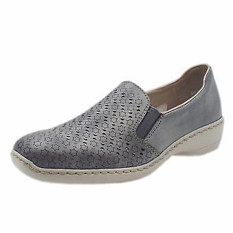 Rieker 413q6-12 Ganges Modern Summer Loafers In Sky Blue