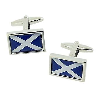 Jakob Strauss Gents Silvertone Scottish Flag Cufflinks in Presentation Box