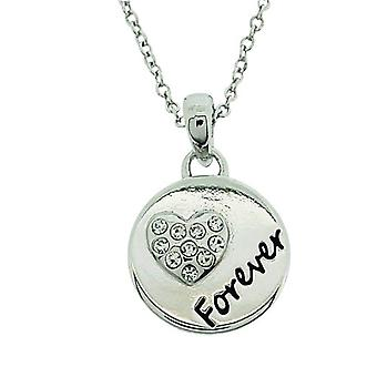 """TOC Silvertone Rhinestone Set """"Forever In My Heart"""" Pendant Necklace 16+2"""""""