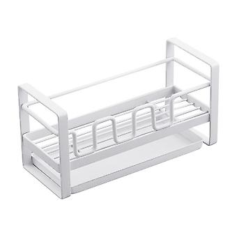 Iron tiered rack for kitchen condiments, white