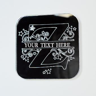 Swirls and Stars Alphabet Square Acrylic Mirror Letter Z