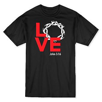 Liebe Christi zerrissen Kranz John 03:16 schwarze T-Shirts für Herren