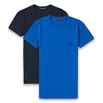 Emporio Armani 2-Pakkaus Stretch Cotton Crew Neck T-paita, Marine / Overseas Blue, X-Large