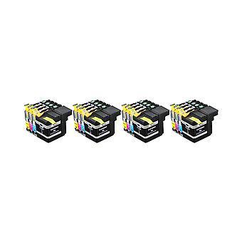 RudyTwos 4 x erstatning for Brother LC127XL sett blekk enhet svart Cyan Magenta & gule kompatibel med DCP-J132W, DCP-J152W, DCP-J172W, DCP-J552DW, DCP-J752DW, DCP-J4110DW, MFC-J245, MFC-J470DW, MFC-J65