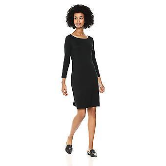 Daily Ritual Women's Jersey 3/4-Sleeve Bateau-Neck T-Shirt Dress, Black, X-Sm...