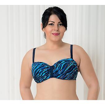 Aqua Perla Womens Deep Blue Bikini Top Plus Size