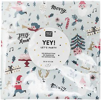 Scandinavian Green Red Christmas Paper Napkins x 20 with Xmas Icons