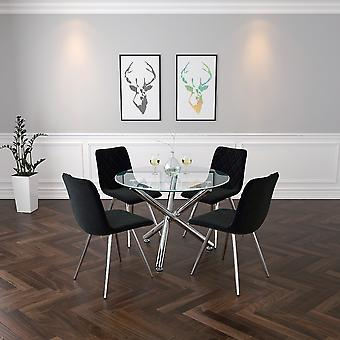 Lincoln Ii/Gianna 5Pc Dining Set - Chrome Table/Black Chair