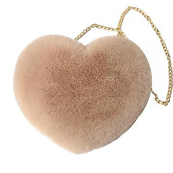 Heart Shaped, Shoulder Crossbody Bag With Stylish Metal Chain