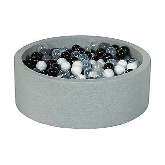 Poço de bola 90 cm com 450 bolas pretas, brancas, transparentes, cinza