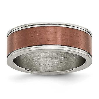 Titanium Brown IP-plated Grooved Edge 8mm Brown Plated Brushed and Polished Band Ring - Ring Size: 7 to 13