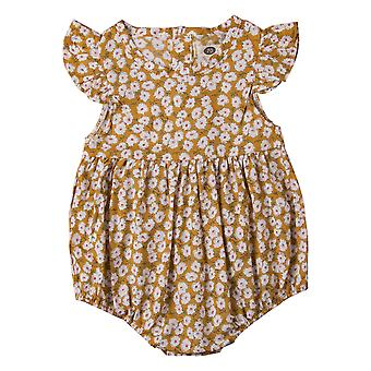 Floral Printed, O Neck, Cotton Rompers For Babies