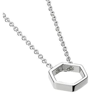 Dew Sterling Silver Open Hexagon 18 Necklace 98013HP020