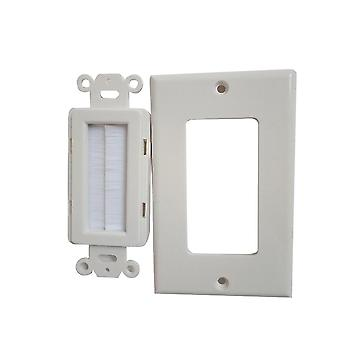 Single Gang Home White Abs Outlet Mount Panel Wall Socket Cable Brush Plate Anti Dust