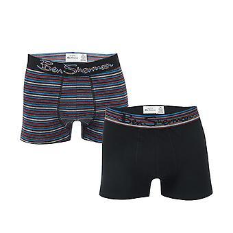 Mænd's Ben Sherman Gib 2 Pack Boxer Shorts i sort