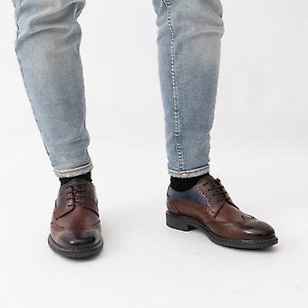 Base London Lennox Mens Leather Wingtip Derby Shoes Brown/navy