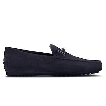 Tod's City Blue Suede Rubber Med Double T